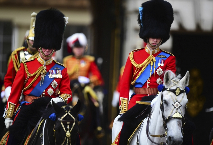 Britain's Prince Charles, right, and Prince William attend the annual Trooping the Colour Ceremony in London, Saturday, June 8, 2019. Trooping the Colour is the Queen's Birthday Parade and one of the nation's most impressive and iconic annual events attended by almost every member of the Royal Family(/PA via AP)