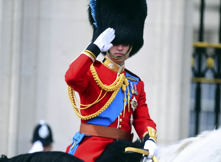 Britain's Prince William attends the annual Trooping the Colour Ceremony in London, Saturday, June 8, 2019. Trooping the Colour is the Queen's Birthday Parade and one of the nation's most impressive and iconic annual events attended by almost every member of the Royal Family(/PA via AP)