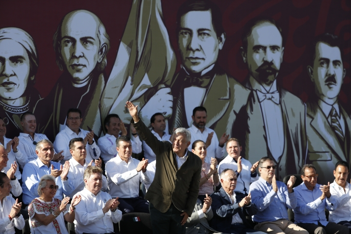 """Mexican President Andres Manuel Lopez Obrador waves to the crowd during a rally in Tijuana, Mexico, Saturday, June 8, 2019. Lopez Obrador held a rally in Tijuana even as President Trump has put on hold his plan to begin imposing tariffs on Mexico on Monday, saying the U.S. ally will take """"strong measures"""" to reduce the flow of Central American migrants into the United States. (AP Photo/Eduardo Verdugo)"""