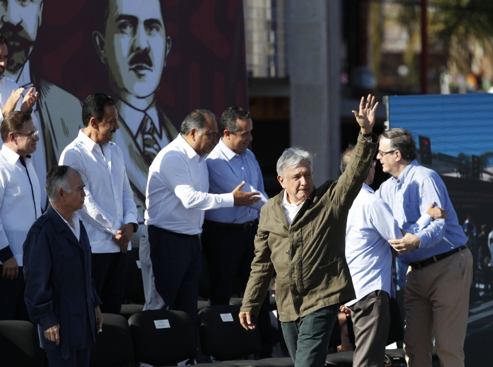 Mexican President Andres Manuel Lopez Obrador arrives at a rally in Tijuana, Mexico, Saturday, June 8, 2019. The event was originally scheduled as an act of solidarity in the face of President Donald Trump's threat to impose a 5% tariff on Mexican imports if it did not stem the flow of Central American migrants heading toward the U.S. But Mexican and U.S. officials reached an accord Friday that calls on Mexico to crackdown on migrants in exchange for Trump backing off his threat. (AP Photo/Eduardo Verdugo)
