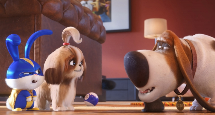 "This image released by Universal Pictures shows, from left, Snowball, voiced by Kevin Hart, Daisy, voiced by Tiffany Haddish and Pops, voiced by Dana Carvey in a scene from ""The Secret Life of Pets 2."" (Illumination Entertainment/Universal Pictures via AP)"