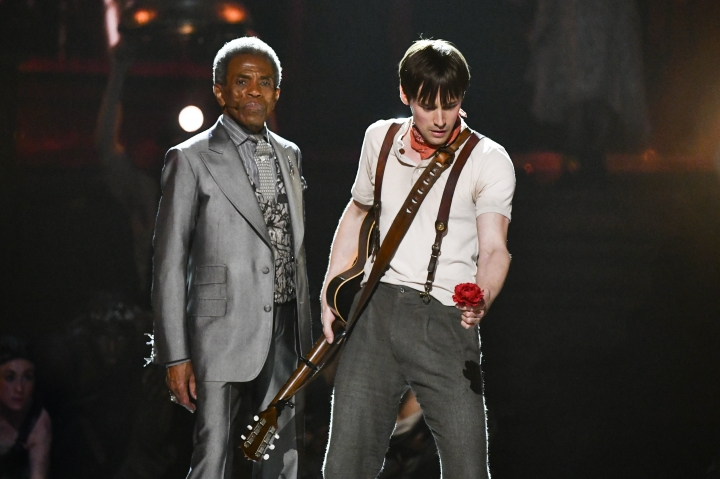 """Andre De Shields , left, and Reeve Carney, of the cast of """"Hadestown"""" perform at the 73rd annual Tony Awards at Radio City Music Hall on Sunday, June 9, 2019, in New York. (Photo by Charles Sykes/Invision/AP)"""