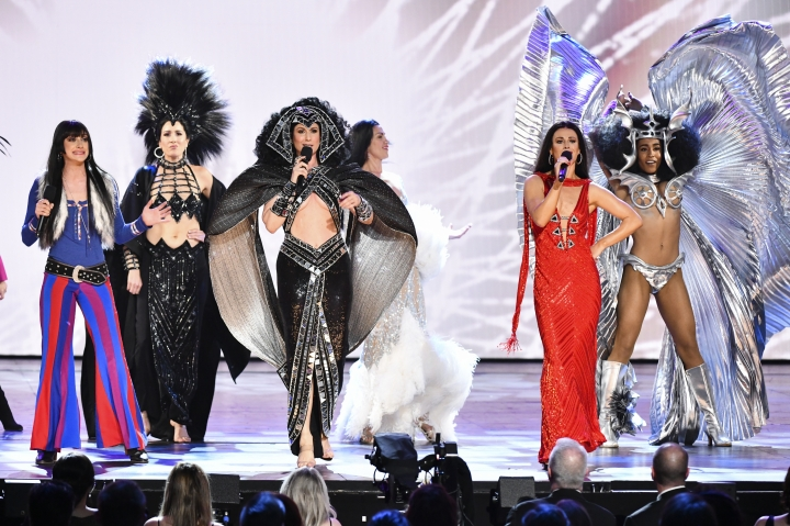 "The cast of ""The Cher Show"" perform at the 73rd annual Tony Awards at Radio City Music Hall on Sunday, June 9, 2019, in New York. (Photo by Charles Sykes/Invision/AP)"