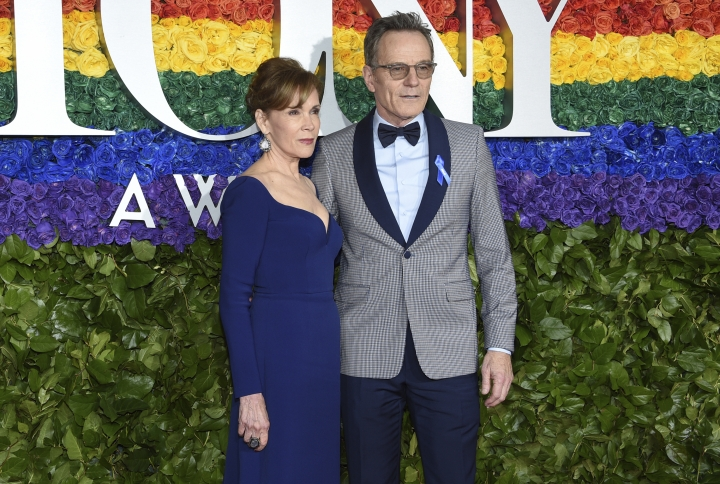 Robin Dearden, left, and Bryan Cranston arrive at the 73rd annual Tony Awards at Radio City Music Hall on Sunday, June 9, 2019, in New York. (Photo by Evan Agostini/Invision/AP)
