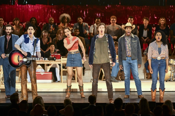 "The cast of ""Oklahoma!,"" performs at the 73rd annual Tony Awards at Radio City Music Hall on Sunday, June 9, 2019, in New York. (Photo by Charles Sykes/Invision/AP)"