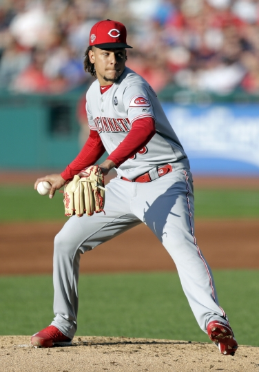 Cincinnati Reds starting pitcher Luis Castillo delivers in the first inning in a baseball game against the Cleveland Indians, Tuesday, June 11, 2019, in Cleveland. (AP Photo/Tony Dejak)