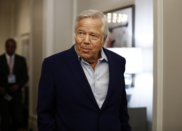 "FILE - In this Wednesday, May 22, 2019 file photo, New England Patriots owner Robert Kraft arrives to the NFL football owners meeting in Key Biscayne, Fla. Israel is rolling out the red carpet for New England Patriots owner Robert Kraft, who arrives next week to collect the Genesis Prize, a prestigious award dubbed by its sponsors as the ""Jewish Nobel Prize."" The ceremony is expected to be Kraft's highest-profile public appearance since he was charged in February with soliciting a prostitute at a Florida massage parlor. (AP Photo/Brynn Anderson, File)"