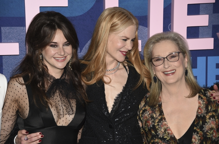 "Shailene Woodley, from left, Nicole Kidman and Meryl Streep attend the premiere of HBO's ""Big Little Lies"" season two at Jazz at Lincoln Center on Wednesday, May 29, 2019, in New York. (Photo by Evan Agostini/Invision/AP)"