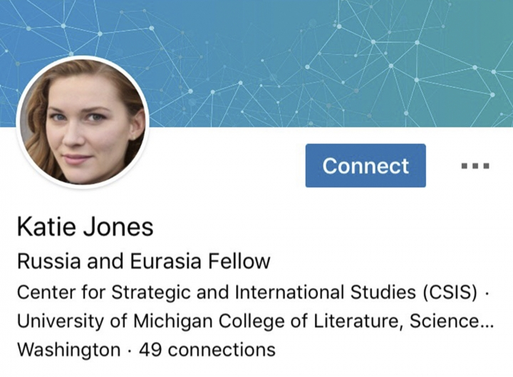This image captured on Tuesday, June 11, 2019 shows part of a LinkedIn profile for someone who identified themselves as Katie Jones. The Associated Press has found it is one of many phantom profiles that lurk on the social media platform. (AP Photo)