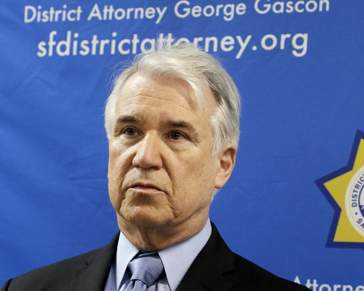 """FILE - In this Tuesday, Feb. 16, 2016 file photo, San Francisco District Attorney George Gascon is shown at a news conference in San Francisco, On Wednesday, June 12, 2019, Gascon is announcing what appears to be a first of its kind program using artificial intelligence to lessen bias in the criminal justice system. Starting next month, prosecutors will decide whether to charge a suspect based on """"color blind"""" police reports in which names, race and other identifying details have been removed. (AP Photo/Jeff Chiu)"""