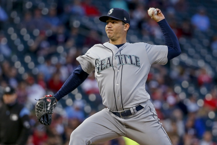 Seattle Mariners pitcher Tommy Milone throws to a Minnesota Twins batter during the fifth inning of a baseball game Wednesday, June 12, 2019, in Minneapolis. (AP Photo/Bruce Kluckhohn)