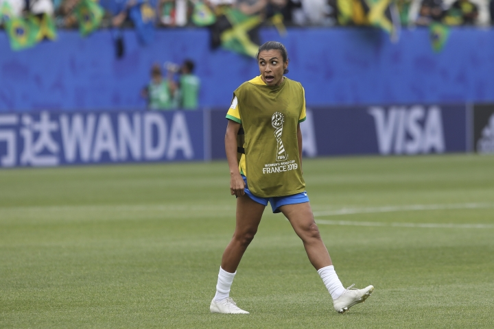 Brazil's Marta celebrates at the end of the Women's World Cup Group C soccer match between Brazil and Jamaica in Grenoble, France, Sunday, June 9, 2019. Marta has been ruled out for Brazil's opening match at the Women's World Cup because of a left thigh injury. (AP Photo/Laurent Cipriani)