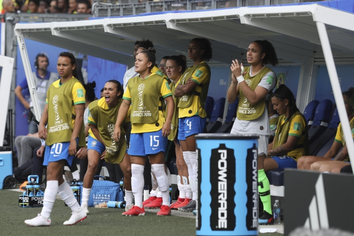 Brazil's Marta, second from left, shouts during the Women's World Cup Group C soccer match between Brazil and Jamaica in Grenoble, France, Sunday, June 9, 2019. Marta has been ruled out for Brazil's opening match at the Women's World Cup because of a left thigh injury. (AP Photo/Laurent Cipriani)