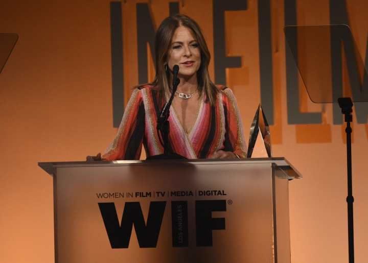 Cathy Schulman accepts the crystal award for advocacy in entertainment at the Women in Film Annual Gala on Wednesday, June 12, 2019, at the Beverly Hilton Hotel in Beverly Hills, Calif. (Photo by Chris Pizzello/Invision/AP)