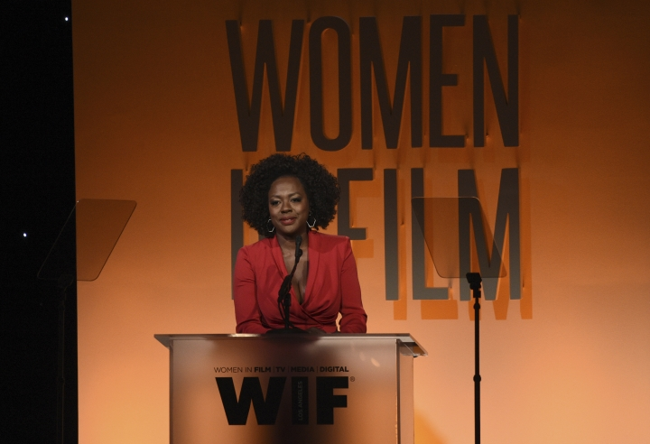 Viola Davis presents the crystal award for advocacy in entertainment at the Women in Film Annual Gala on Wednesday, June 12, 2019, at the Beverly Hilton Hotel in Beverly Hills, Calif. (Photo by Chris Pizzello/Invision/AP)