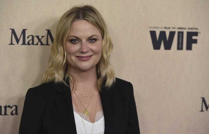 Amy Poehler arrives at the Women in Film Annual Gala on Wednesday, June 12, 2019, at the Beverly Hilton Hotel in Beverly Hills, Calif. (Photo by Chris Pizzello/Invision/AP)