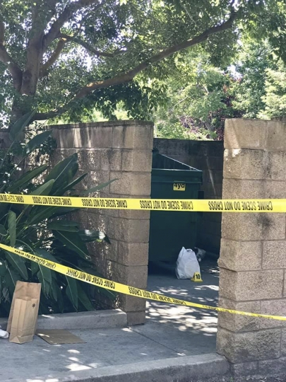 This photo released Tuesday, June 11, 2019, by the Stockton Police Department shows the scene where an abandoned baby was found in Stockton, Calif. An apartment building resident heard cries and notified the manager, who pulled the child from the building's dumpster. Authorities say a teenager accused of abandoning her newborn baby was cited for child abuse and will be released to her parents after she leaves the hospital. The Stockton Police Department says the boy was found wrapped in a plastic bag Tuesday afternoon in Stockton, south of Sacramento. (Stockton Police Department via AP)