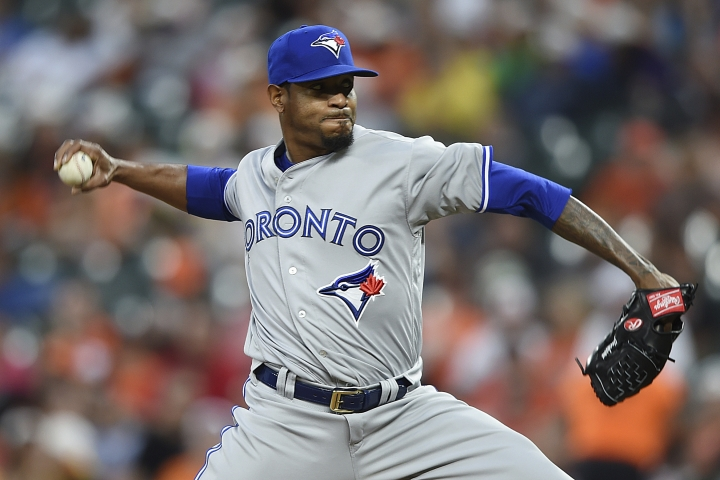 Toronto Blue Jays pitcher Edwin Jackson delivers against the Baltimore Orioles during the third inning of a baseball game Wednesday, June 12, 2019, in Baltimore. (AP Photo/Gail Burton)