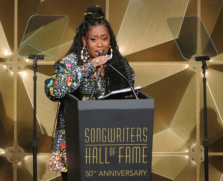 Missy Elliott speaks at the 50th annual Songwriters Hall of Fame induction and awards ceremony at the New York Marriott Marquis Hotel on Thursday, June 13, 2019, in New York. (Photo by Brad Barket/Invision/AP)