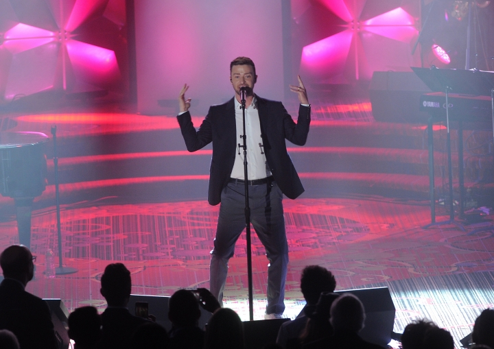 Justin Timberlake performs on stage at the 50th annual Songwriters Hall of Fame induction and awards ceremony at the New York Marriott Marquis Hotel on Thursday, June 13, 2019, in New York. (Photo by Brad Barket/Invision/AP)