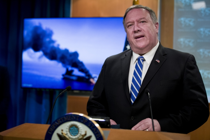 Secretary of State Mike Pompeo speaks at the State Department, Thursday, June 13, 2019, in Washington. Pompeo says Iran is believed to be responsible for attacks on 2 tankers near Persian Gulf. (AP Photo/Alex Brandon)