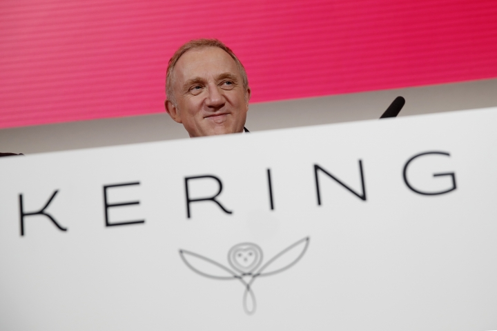 FILE - In this Feb.12, 2019 file photo, Francois-Henri Pinault, CEO of luxury group Kering arrives for the presentation of the company's 2018 full year results in Paris. The billionaire French donors that publicly promised flashy donations, including the Pinault family who have said they plan to pay via the Friends of Notre Dame, but it's mainly American citizens that have footed the bills and paid salaries for the up to 150 workers employed by the cathedral since the April 15 fire. (AP Photo/Christophe Ena)
