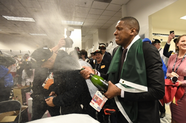 Toronto Raptors President Masai Ujiri celebrates after the team's 114-110 win over the Golden State Warriors in Game 6 of basketball's NBA Finals, Thursday, June 13, 2019, in Oakland, Calif. (Frank Gunn/The Canadian Press via AP)