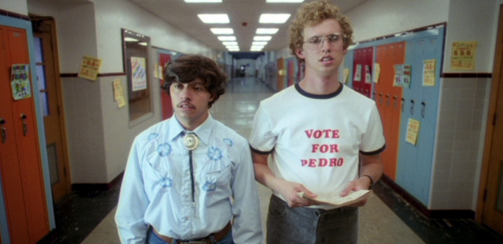 """This 2004 photo provided by Twentieth Century Fox and Paramount Pictures shows Jon Heder, as Napoleon Dynamite, right, and Efren Ramirez, as Pedro, in a scene from the cult classic comedy """"Napoleon Dynamite."""" (Twentieth Century Fox/Paramount Pictures via AP)"""