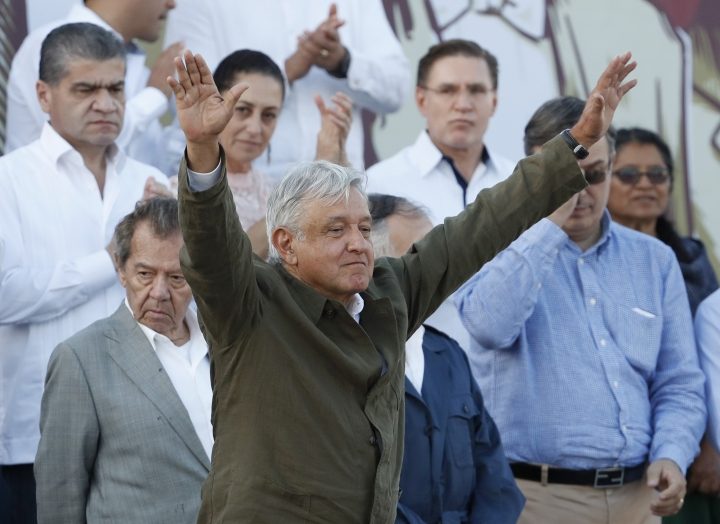 "Mexican President Andres Manuel Lopez Obrador receives the applause of the crowd during a rally in Tijuana, Mexico, Saturday, June 8, 2019. Mexican President Andres Lopez Obrador held the rally in Tijuana even as President Trump has put on hold his plan to begin imposing tariffs on Mexico on Monday, saying the U.S. ally will take ""strong measures"" to reduce the flow of Central American migrants into the United States. (AP Photo/Eduardo Verdugo)"