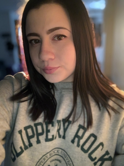 In this Feb. 9, 2019 photo provided by Alicia Gonzales, Gonzales poses for a selfie, in Pittsburgh. Gonzales says she was forced to leave her dream college in West Virginia because the school allowed her accused rapist to remain on campus. (Alicia Gonzales via AP)