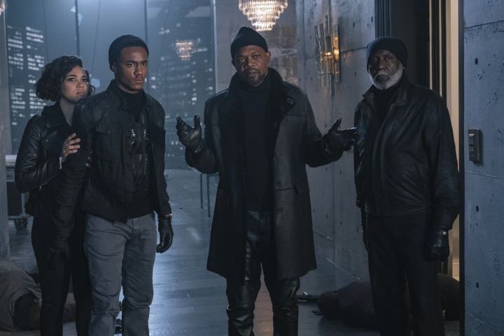 "This image released by Warner Bros. Pictures shows from left, Alexandra Shipp, Jessie Usher, Samuel Jackson and Richard Roundtree in a scene from ""Shaft."" (Kyle Kaplan/Warner Bros. Pictures via AP)"