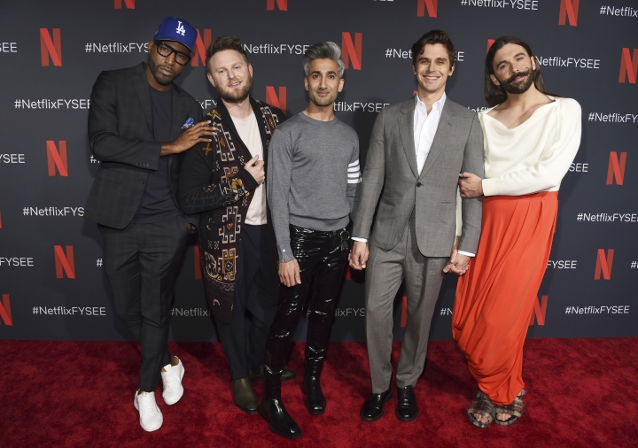 "FILE - In this May 16, 2019 file photo, Karamo Brown, from left, Bobby Berk, Tan France, Antoni Porowski and Jonathan Van Ness arrive at a For Your Consideration event for ""Queer Eye"" at Raleigh Studios in Los Angeles. Netflix's show ""Queer Eye"" says it's bringing fabulousness to the masses for two more seasons. The streaming service announced Tuesday, June 18, that season four will debut July 19. (Photo by Chris Pizzello/Invision/AP, File)"