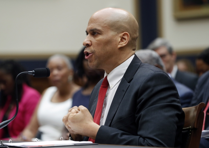 Democratic Presidential candidate Sen. Cory Booker, D-N.J., testifies about reparation for the descendants of slaves during a hearing before the House Judiciary Subcommittee on the Constitution, Civil Rights and Civil Liberties, at the Capitol in Washington, Wednesday, June 19, 2019. (AP Photo/Pablo Martinez Monsivais)