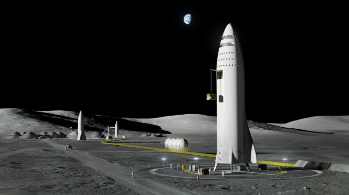 FILE - This artist's rendering made available by SpaceX on Friday, Sept. 29, 2017 shows the company's design for a 350-foot-tall rocket on the Earth's moon. A poll released Thursday, June 20, 2019 shows that Americans prefer a space program focusing on potential asteroid impacts, scientific research into our cosmos and robotic space probes over human exploration of Mars or the moon. (SpaceX via AP)