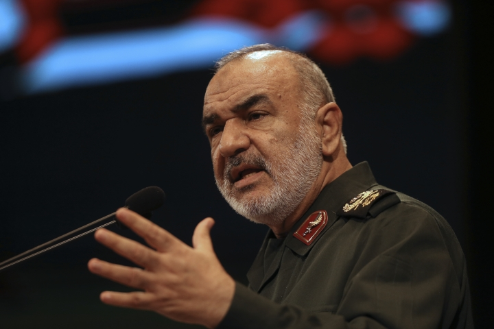 "In this Nov. 22, 2018, the then deputy commander of Iran's Revolutionary Guard Gen. Hossein Salami speaks in a conference in Tehran, Iran. Iran's Revolutionary Guard shot down a U.S. drone on Thursday, June 20, 2019, amid heightened tensions between Tehran and Washington over its collapsing nuclear deal with world powers, American and Iranian officials said, while disputing the circumstances of the incident. The current chief of the Guard, Gen. Salami, speaking to a crowd in the western city of Sanandaj on Thursday, described the American drone as ""violating our national security border."" (AP Photo/Vahid Salemi)"