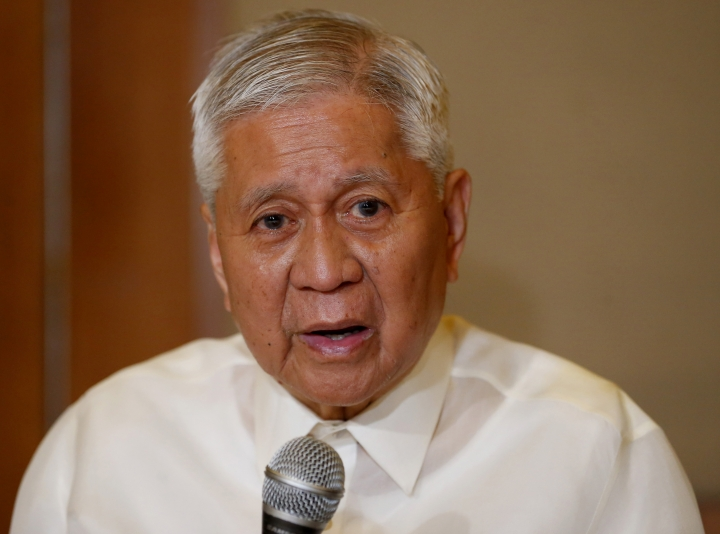 FILE - In this March 22, 2019, file photo, former Philippine Foreign Affairs Secretary Albert del Rosario answers questions from the media during a news conference with former chief anti-graft prosecutor Conchita Carpio-Morales in suburban Makati city, east of Manila, Philippines. Del Rosario who accused Chinese President Xi Jinping of crimes against humanity in court said Friday, June 21, 2019 he was barred from immediately entering Hong Kong and held at the airport for unclear reasons. (AP Photo/Bullit Marquez, File)
