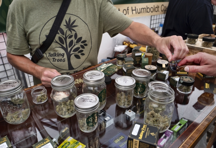 In this Thursday, June 20, 2019 photo a vendor with Talking Trees Farms a Northern Humboldt County sustainable cannabis farm, offers a taste of their latest crop of crafted marijuana flower to an attendee in the farmers market during a business to business networking event, WeedCon West 2019 in Los Angeles. Marijuana shoppers are going to be getting a message from California regulators: Go legal. (AP Photo/Richard Vogel)