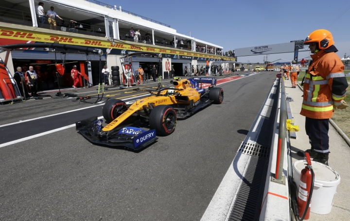 Mclaren driver Lando Norris of Britain steers his car during the second free practice at the Paul Ricard racetrack in Le Castellet, southern France, Friday, June 21, 2019. The French Formula One Grand Prix will be held on Sunday. (AP Photo/Claude Paris)