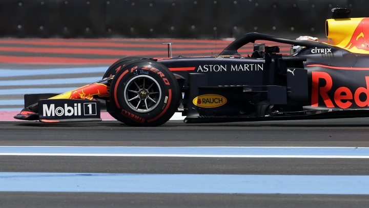 Red Bull driver Max Verstappen of the Netherlands steers his car during the third practice at the Paul Ricard racetrack in Le Castellet, southern France, Saturday, June 22, 2019. The French Formula One Grand Prix will be held on Sunday. (AP Photo/Claude Paris)