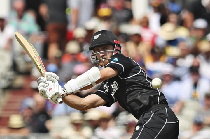New Zealand's captain Kane Williamson bats during the Cricket World Cup match between New Zealand and West Indies at Old Trafford in Manchester, England, Saturday, June 22, 2019. (AP Photo/Jon Super)