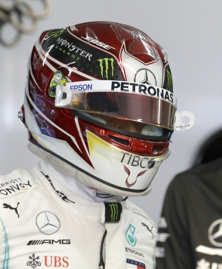 Mercedes driver Lewis Hamilton of Britain prepares at pits during the second free practice at the Paul Ricard racetrack in Le Castellet, southern France, Friday, June 21, 2019. The French Formula One Grand Prix will be held on Sunday. (AP Photo/Claude Paris)