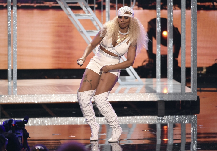 Lifetime achievement award winner Mary J. Blige performs a medley at the BET Awards on Sunday, June 23, 2019, at the Microsoft Theater in Los Angeles. (Photo by Chris Pizzello/Invision/AP)