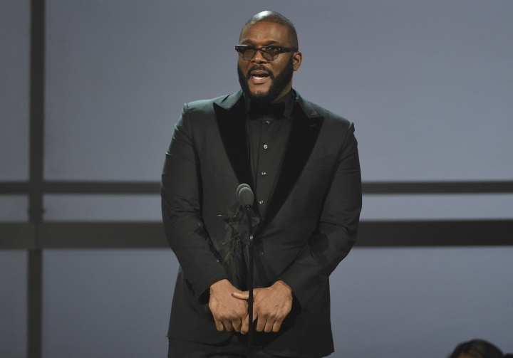 Tyler Perry accepts the ultimate icon award at the BET Awards on Sunday, June 23, 2019, at the Microsoft Theater in Los Angeles. (Photo by Chris Pizzello/Invision/AP)