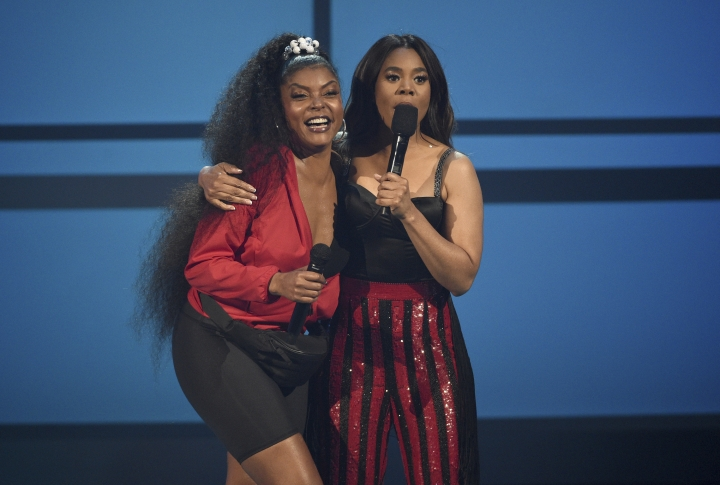 Taraji P. Henson, left, and host Regina Hall appear on stage at the BET Awards on Sunday, June 23, 2019, at the Microsoft Theater in Los Angeles. (Photo by Chris Pizzello/Invision/AP)
