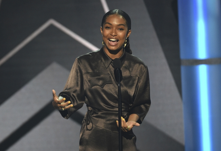 Yara Shahidi presents the best new artist award at the BET Awards on Sunday, June 23, 2019, at the Microsoft Theater in Los Angeles. (Photo by Chris Pizzello/Invision/AP)