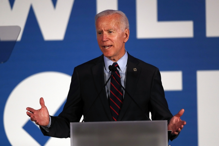 "FILE - In this June 6, 2019, file photo, Democratic presidential candidate former Vice President Joe Biden speaks in Atlanta. As Democratic presidential hopefuls prepare for their first 2020 primary debate this week, 77 medical and public health groups aligned on Monday, June 24, to push for a series of consensus commitments to combat climate change _ bluntly defined by the organizations as ""a health emergency."" (AP Photo/John Bazemore)"