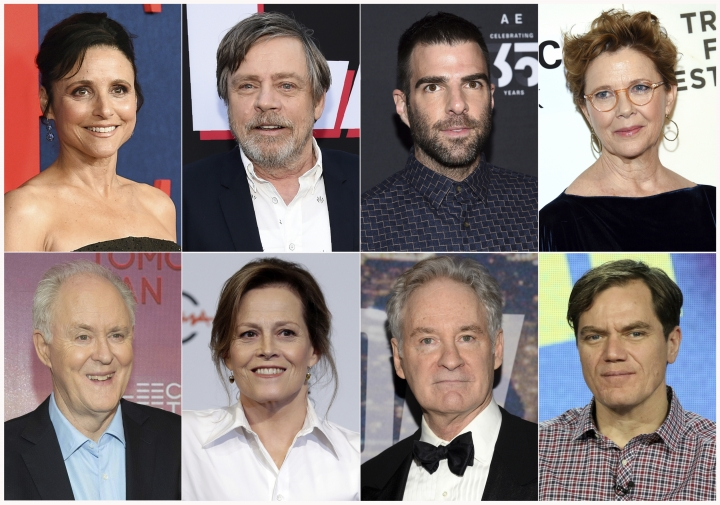 "This combination photo shows actors, top row from left, Julia Louis-Dreyfus, Mark Hamill, Zachary Quinto, Annette Bening and bottom row from left, John Lithgow, Sigourney Weaver, Kevin Kline and Michael Shannon, who will participate in a live reading of passages from the Mueller report for ""The Investigation: A Search for the Truth in Ten Acts,"" which will be streamed on the Law Works website. (AP Photo)"