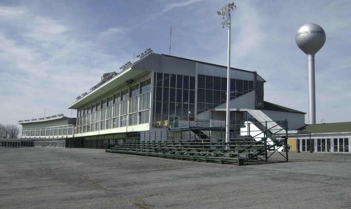FILE - This March 30, 2004 file photo, shows the grand stands at Vernon Downs in Verona, N.Y. A smaller Woodstock 50 festival could possibly be held at the upstate New York harness track and casino. Town of Vernon Supervisor Randy Watson tells the Poughkeepsie Journal that Woodstock 50 has applied for a permit to hold its concert Aug. 16-18, 2019, at Vernon Downs, about 35 miles east of Syracuse. Watson said the proposed capacity was 45,000-50,000 people - far smaller than the 150,000 planned for at the initial venue, Watkins Glen International. (AP Photo/Kevin Rivoli, File)