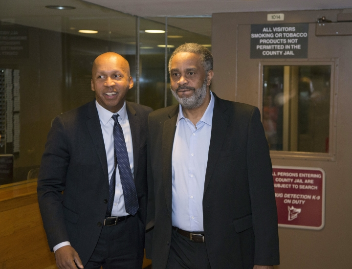 """FILE - This April 3, 2015 file photo shows attorney Bryan Stevenson, left, leaving Jefferson County jail in Birmingham, Ala., with Anthony Ray Hinton, who spent nearly 30 years on Alabama's death row for the 1985 slaying of two fast-food managers. In the documentary, """"True Justice: Bryan Stevenson's Fight for Equality,"""" airing Wednesday on HBO, Hinton talks about sitting on death row. (AP Photo/ Hal Yeager, File)"""
