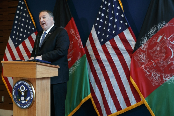 Secretary of State Mike Pompeo speaks during a news conference at the U.S. Embassy, Tuesday, June 25, 2019, during an unannounced visit to Kabul, Afghanistan. (AP Photo/Jacquelyn Martin, Pool)